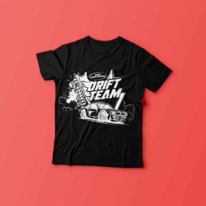 Koszulka DRIFT TEAM czarna z nadrukiem